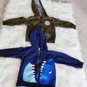DKNY green Sherpa hoodie and Carter's Shark hoodie